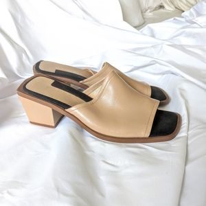 Vintage Tan Leather Chunky Block Heel Slides